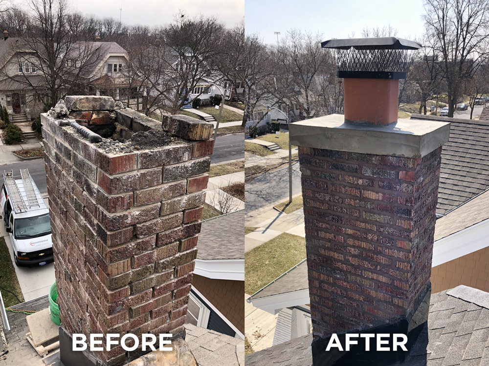 Dark red chimney repair
