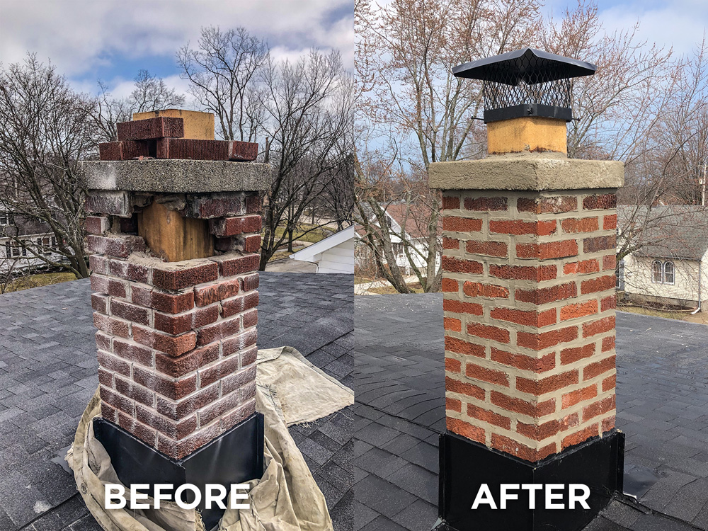 Red brick chimney rebuild