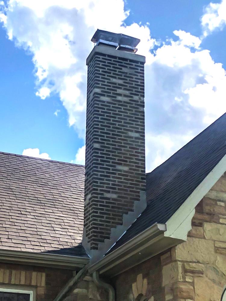 Stone house chimney