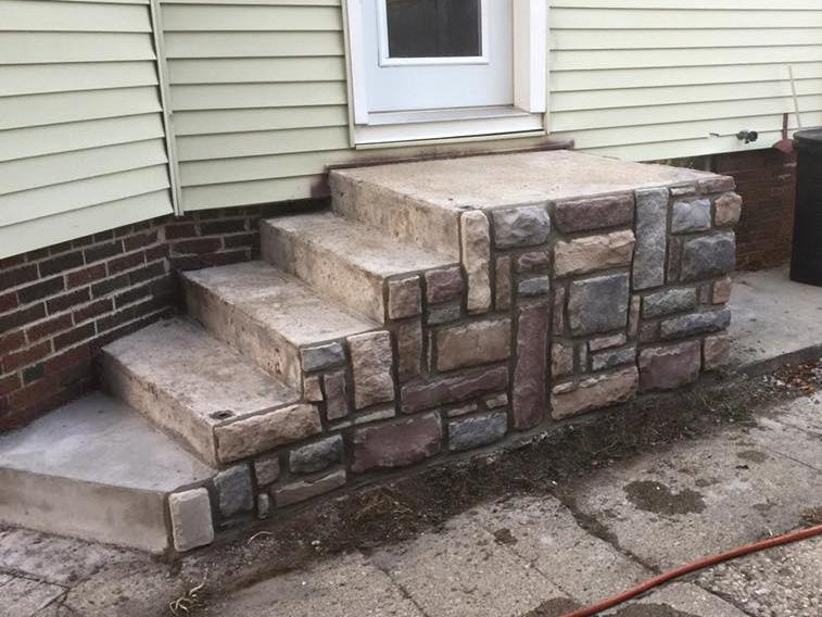 stone masonry stair facade